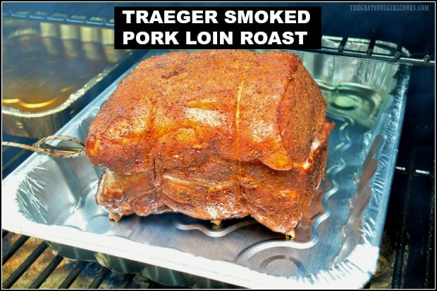 Traeger Smoked Pork Loin Roast (seasoned with dry rub spices) tastes amazing right off the smoker, OR as a tasty pulled pork sandwich, coated in BBQ sauce!