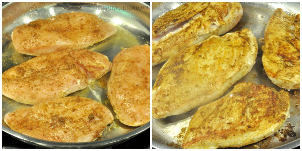 Seasoned chicken breasts are pan-seared in skillet, until golden brown in color.