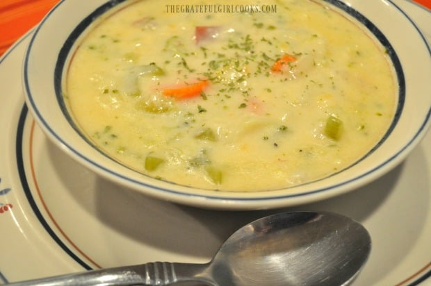 Garden vegetable chowder is ready to eat!