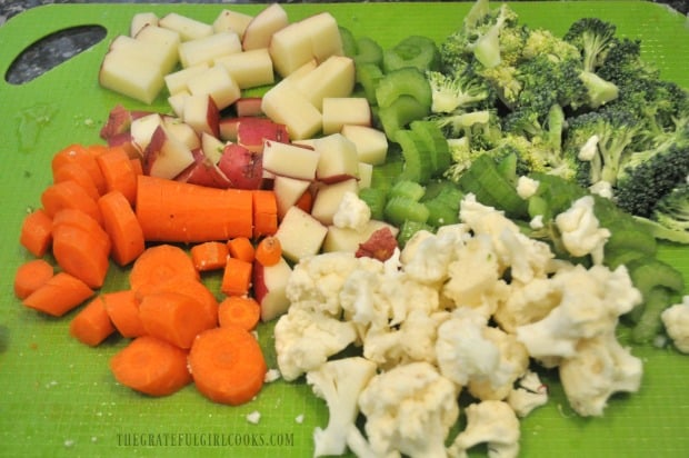 Carrots, potatoes, celery, broccoli and cauliflower used to make vegetable chowder.