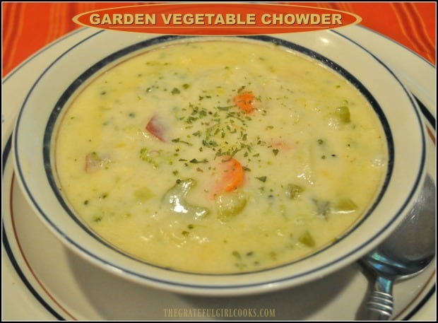 Easy to make, thick and creamy Garden Vegetable Chowder, with broccoli, cauliflower, potatoes, celery, and carrots will fill and warm you up, any time of year!