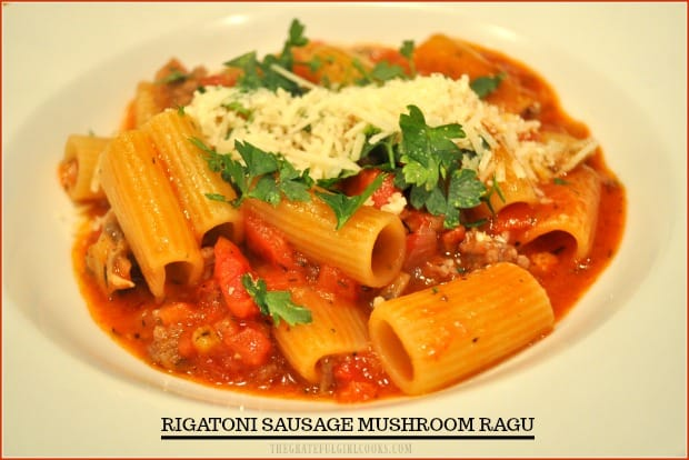 You're gonna enjoy rigatoni sausage mushroom ragu, an easy to make, one pot Italian meal that you will want to make again and again, because it is SO GOOD!