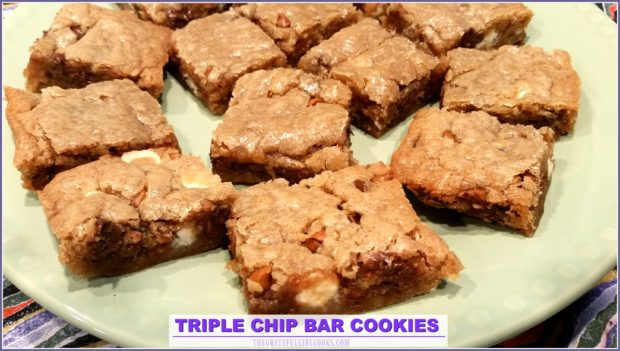 You'll love these EASY to make Triple Chip Bar Cookies, loaded with semi-sweet, white, and cinnamon chips- have a dozen treats ready to eat in about 30 minutes!