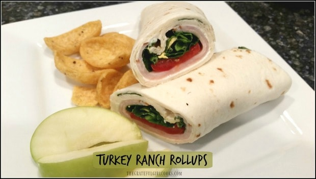 Turkey Ranch Rollups are wrap sandwiches with turkey breast, roma tomatoes and spinach with a cream cheese ranch spread. EASY to make; perfect for lunch boxes!