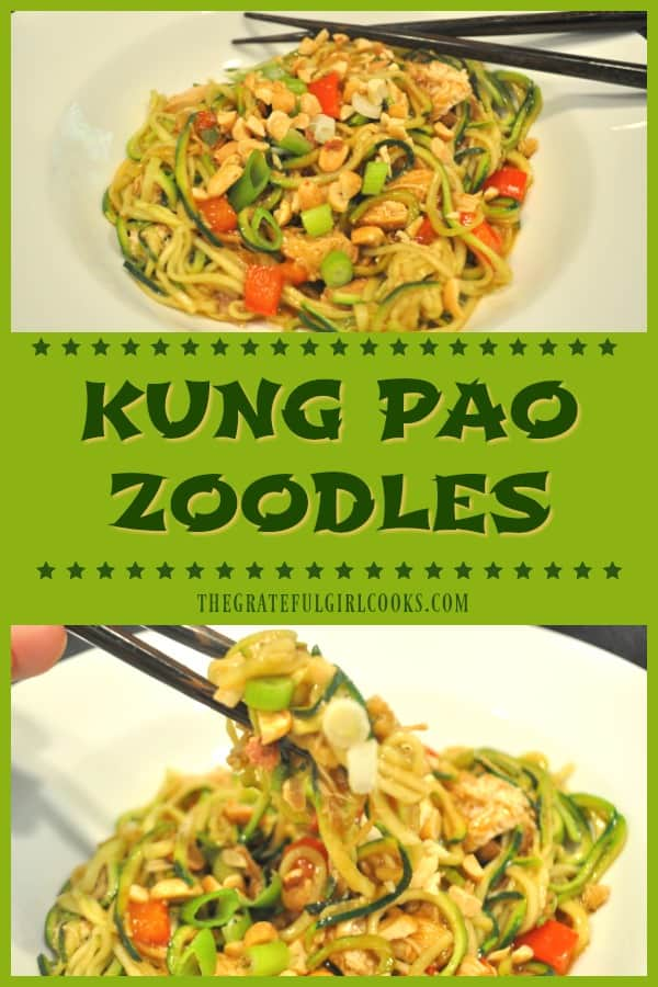 Kung Pao Zoodles is a low calorie (under 300), low carb dish using spiralized zucchini noodles, cooked in a sweet/spicy Asian sauce, w/or without chicken.