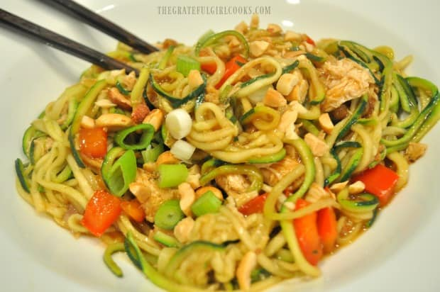 Kung Pao Zoodles with a pair of chopsticks... ready to serve!