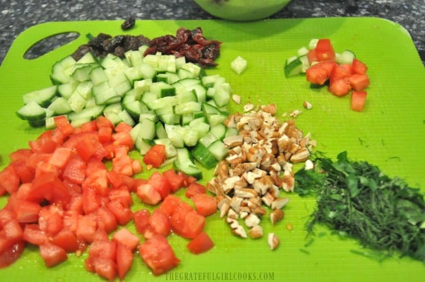 Vegetables are chopped and cut, ready to make lemon herb couscous salad.
