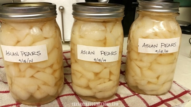 Asian Pears have been canned and are ready for the pantry!
