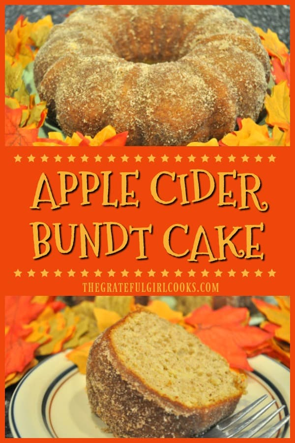 You'll love Apple Cider Bundt Cake! It's an easy, delicious Fall dessert or coffeecake with cider, grated apples, cinnamon, nutmeg & a cinnamon sugar topping.