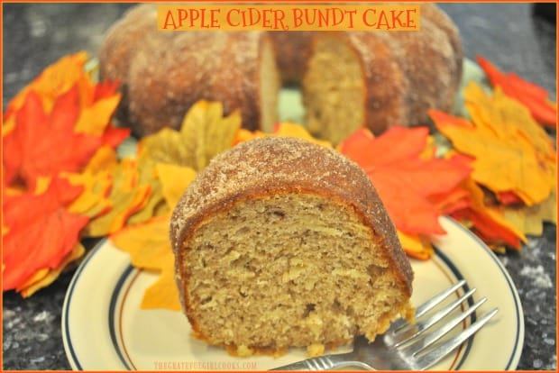 You'll love Apple Cider Bundt Cake! It's an easy, yummy Fall dessert or coffeecake with cider, grated apples, cinnamon, nutmeg & a cinnamon sugar topping.