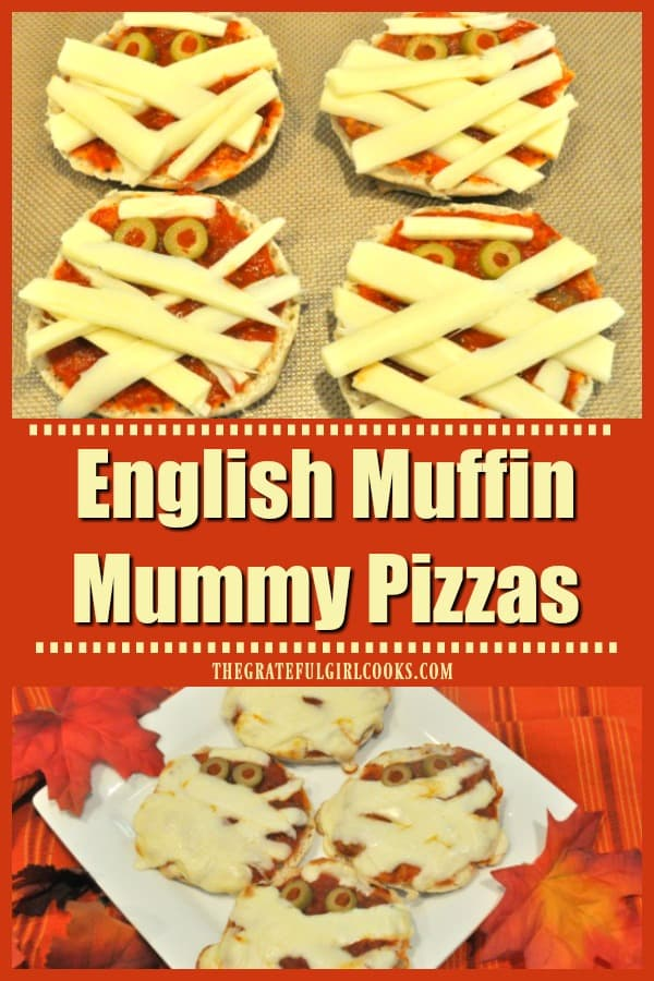 English Muffin Mummy Pizzas are a perfect Halloween treat for kids (or adults)! They're cute, yummy, and VERY EASY to make, with only a few ingredients!