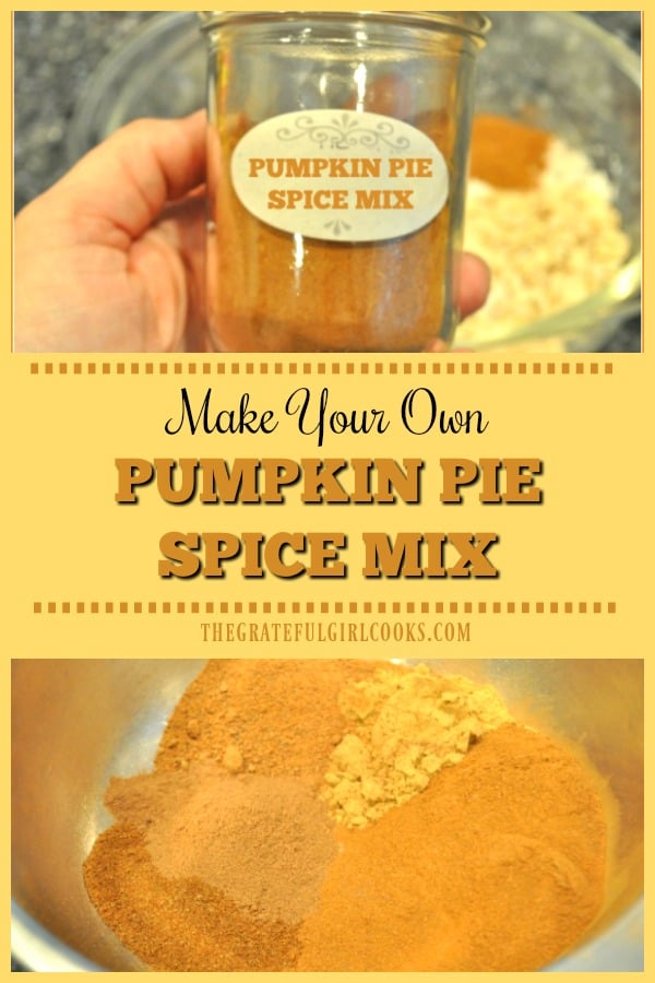 Do you need pumpkin pie spice mix for a favorite recipe this Fall? There's no need to run to the store and buy it, when it's SO EASY to make your own!