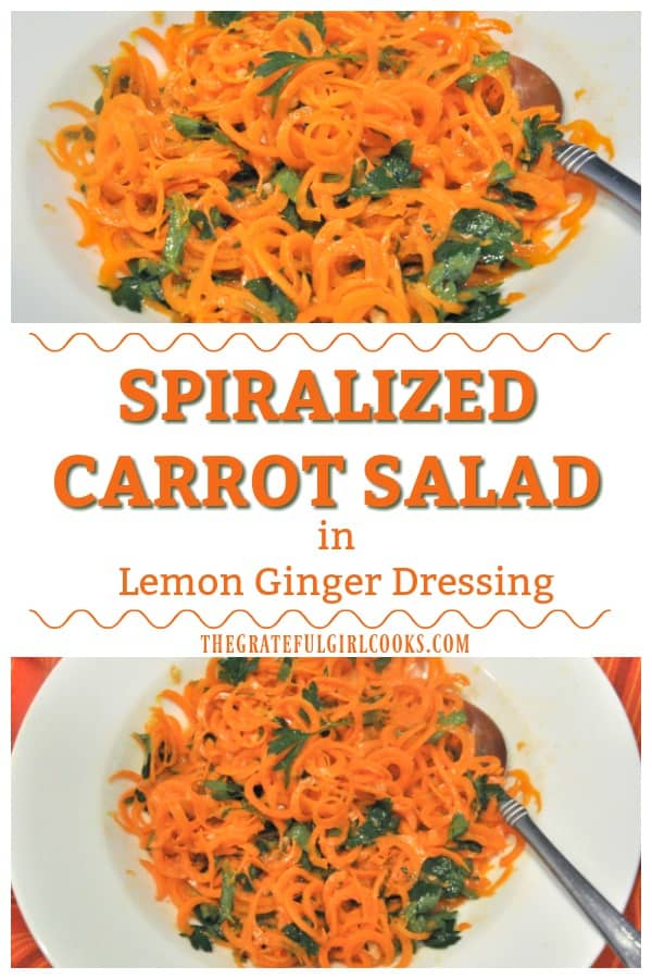 Spiralized Carrot Salad in Lemon Ginger Dressing is a delicious, fresh veggie side dish! It is easy to make, using a vegetable peeler OR spiralizer!