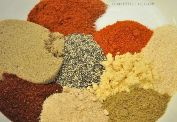 Spices for dry rub mix to season Traeger roasted chicken.