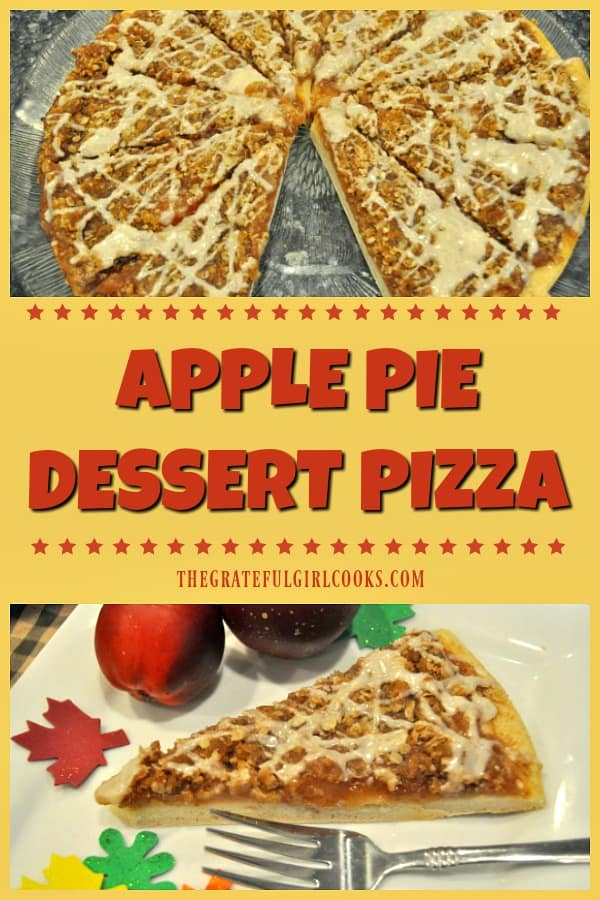 Apple pie dessert pizza features a thin pizza crust, topped with apple pie filling, a brown sugar and oats streusel topping, drizzled with cinnamon icing. YUM!