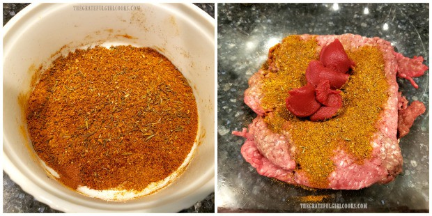 Blending spices and ground beef to make Moroccan Meatball Couscous Soup.