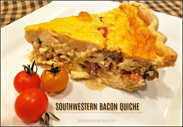 Bacon, jack cheese, green chiles, spices, peppers, mushrooms and onions give this Southwestern Bacon Quiche in a flaky pie crust it's fantastic flavor! YUM!
