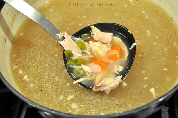 Holding a ladle full of chicken soup (without noodles)