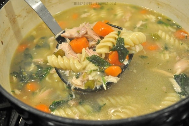 A ladle, full of the finished chicken noodle soup.