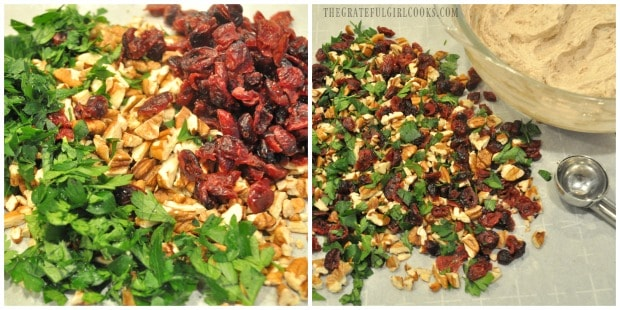 Chopped parsley, pecans, and dried cranberries are mixed to garnish cranberry pecan goat cheese bites.