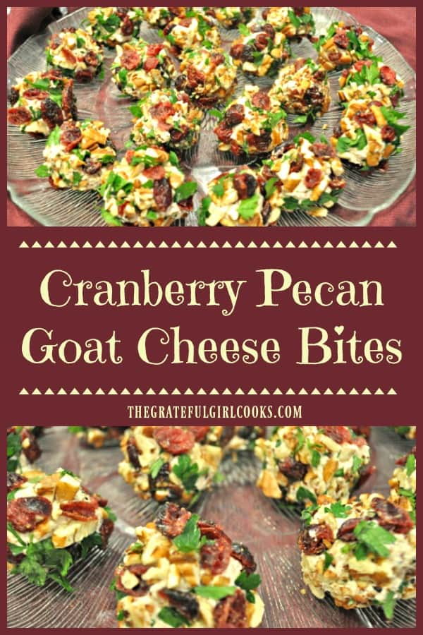 Make these colorful & delicious Cranberry Pecan Goat Cheese Bites for your next party or get together! These EASY bite sized appetizers are made in 15 minutes!