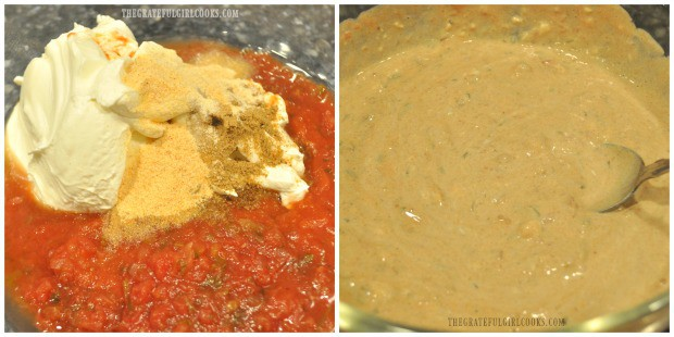 Mixing together the Southwestern sauce used in the fiesta chicken pasta casserole.