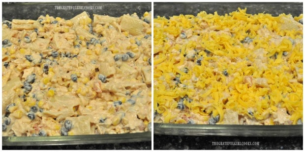 Fiesta Chicken Pasta Casserole is covered with grated cheese, then baked.