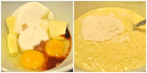 Mixing up the batter for the crescent roll coffeecake.