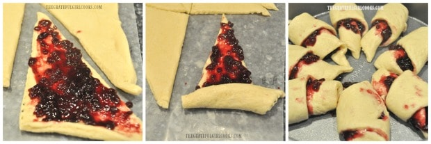 Jam is spread onto each dough triangle then rolled up and placed in baking pan, for crescent roll coffeecake.