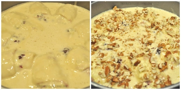 Batter is poured over the crescent roll coffeecake, then it is topped with nuts before baking.