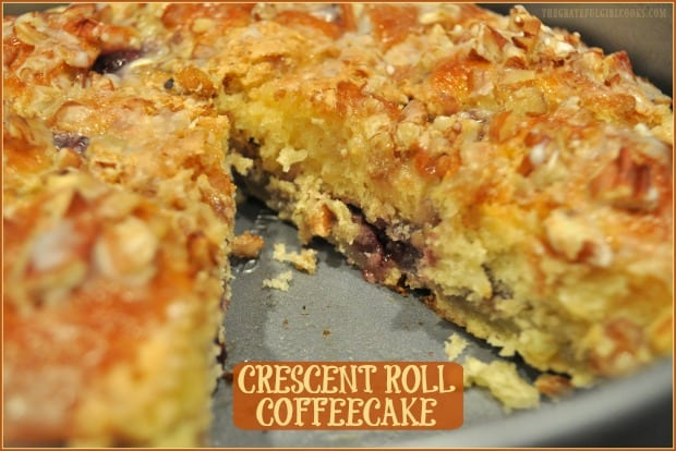 It's so EASY to make this buttery, scrumptious crescent roll coffeecake, using a can of crescent rolls, jam, and a few other common ingredients!