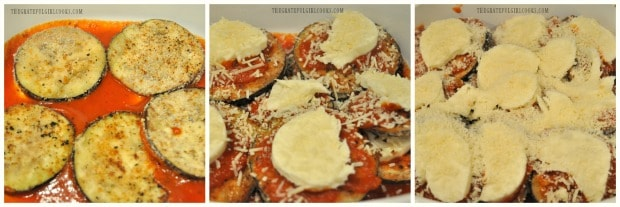 Eggplant parmesan has layers of sauce, eggplant, and cheeses,