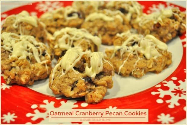 Soft and chewy oatmeal cranberry pecan cookies, with a white chocolate drizzle on top, are easy to make, and sure to please kids of ALL ages!