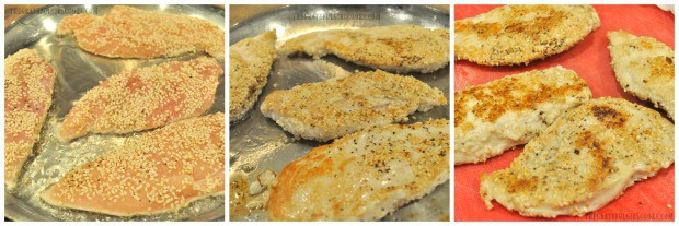 Boneless chicken breasts, coated in sesame seeds are pan seared for sesame chicken salad.