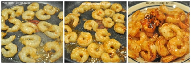The sesame shrimp is cooked in skillet, then removed from pan.