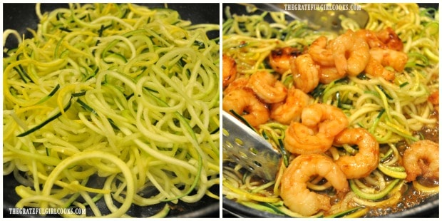 Zoodles are added to skillet, along with sesame shrimp and Asian sauce.
