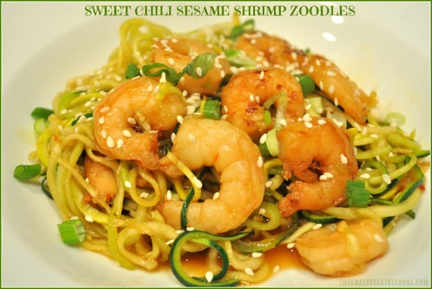 Sweet Chili Sesame Shrimp Zoodles, with shrimp in an Asian-inspired sauce on spiralized zucchini noodles, is a delicious, low calorie dish!