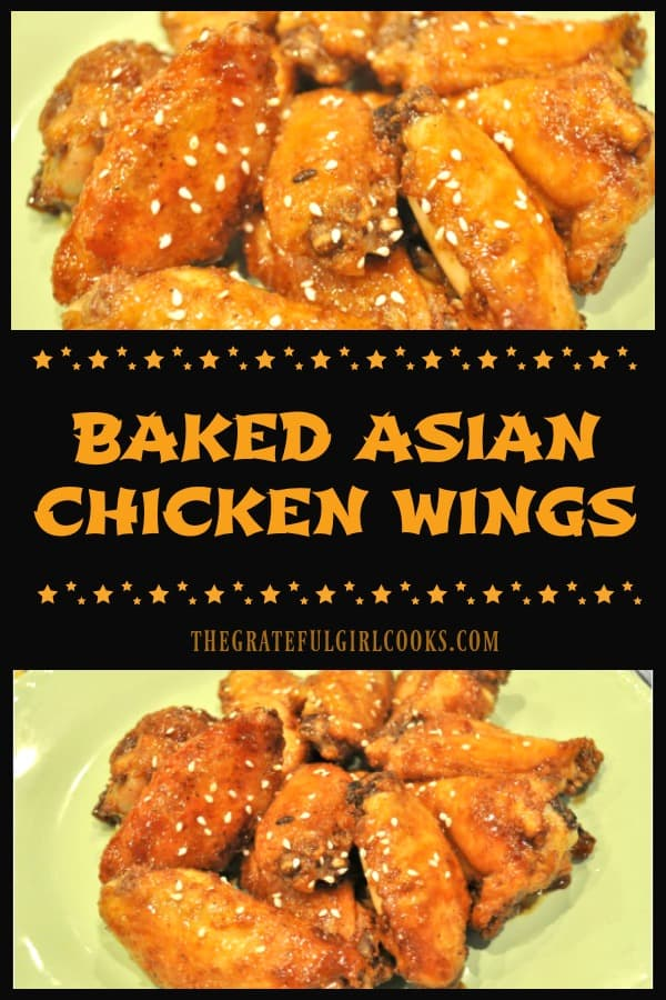Baked Asian Chicken Wings are seasoned with spice rub, baked, then glazed with a sticky soy/Sriracha/sesame sauce before serving as an appetizer or main dish!