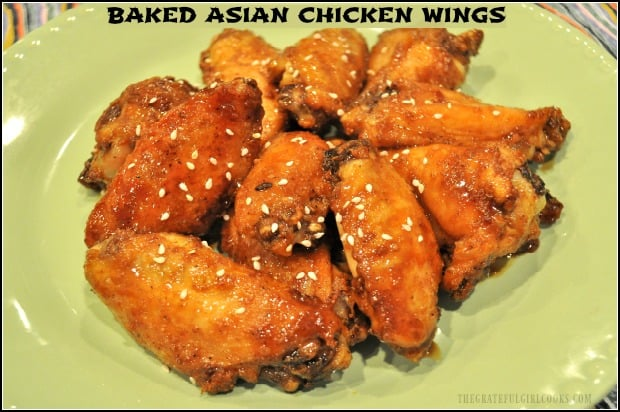 Baked Asian Chicken Wings are seasoned with spice rub, baked, then glazed with a sticky soy/Sriracha/sesame sauce before serving!