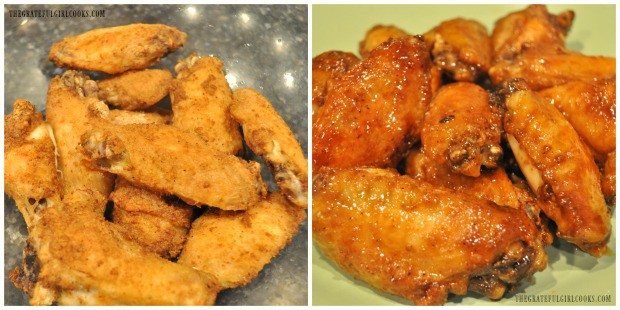 The wings come out of oven and are tossed in sauce to become Baked Asian Chicken Wings.