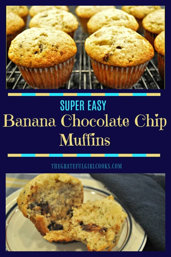 EASY, delicious banana chocolate chip muffins can be ready and on the table in 30 minutes! You'll LOVE these simple, yummy breakfast treats!