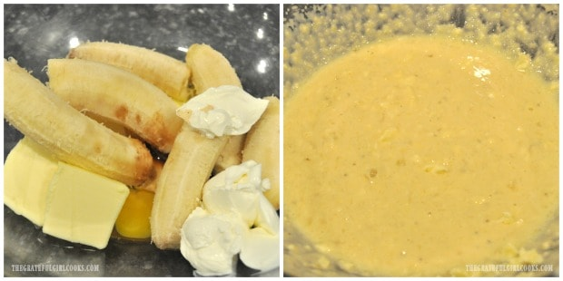 Bananas, eggs, butter, sour cream, etc. are mixed together for batter for banana chocolate chip muffins.