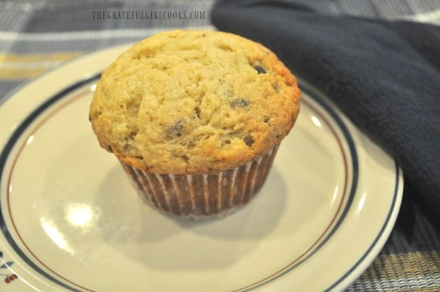 One of the banana chocolate chip muffins, on a plate, ready to be eaten.