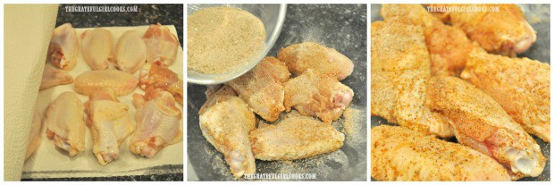 Chicken wings are patted dry, then seasoned, to make buffalo honey hot wings.
