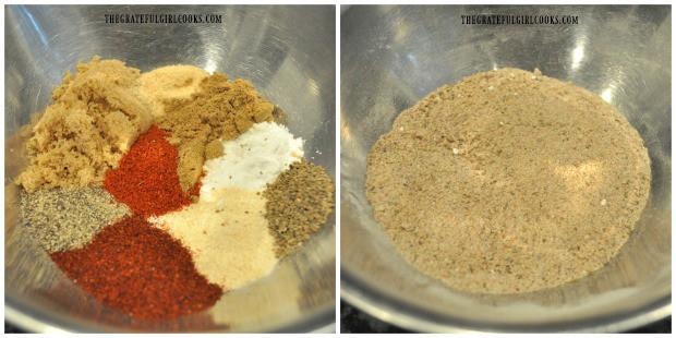 Spice mix in bowl, ready to season buffalo honey hot wings.