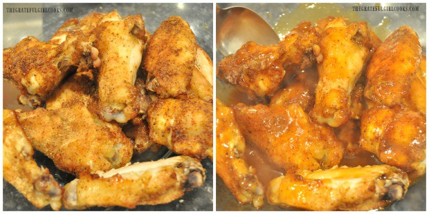 The prepared sauce is poured over the baked buffalo honey hot wings before serving.
