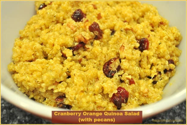 You'll enjoy this delicious Cranberry Orange Quinoa Salad with toasted pecans, covered in a honey-orange dressing! It's gluten-free, and easy to make!