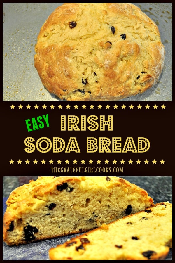 Irish Soda Bread is a classic St. Patrick's Day treat! This high-rising bread is very easy to make, filled with sweet raisins, and tastes amazing!