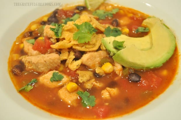 Southwestern Chicken Soup is served with avocado slices, corn chips and cilantro on top.