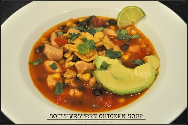 You'll love this delicious Southwestern Chicken Soup, a Weight Watchers dish with corn, black beans, tomatoes, bell peppers, and avocado slices!